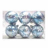 Шары елочные, набор 6 шт., пластик, диаметр 6 см, с рисунком глиттером, цвет светло-голубой (матовый), 59587