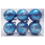 Шары елочные, набор 6 шт., пластик, диаметр 6 см, с рисунком глиттером, цвет голубой (глянец), 59588