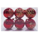 Шары елочные, набор 6 шт., пластик, диаметр 6 см, с рисунком глиттером, цвет красный (глянец), 59589