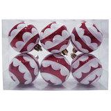 Шары елочные, набор 6 шт., пластик, диаметр 6 см, с рисунком, цвет красный (глянец+глиттер), 59590