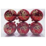 Шары елочные, набор 6 шт., пластик, диаметр 6 см, с рисунком глиттером, цвет красный (глянец), 59591