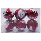 Шары елочные, набор 6 шт., пластик, диаметр 6 см, с рисунком глиттером, цвет красный (матовый), 59592