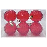 Шары елочные, набор 6 шт., пластик, диаметр 6 см, полупрозрачные, цвет красный (глянец), 59593
