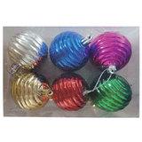 Шары елочные, набор 6 шт., пластик, диаметр 6 см, ассорти 6 цветов (глянец), 59621