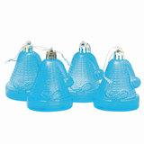 """Украшения елочные подвесные """"Колокольчики"""", НАБОР 4 шт., 6,5 см, пластик, полупрозрачные, голубые, 59598"""