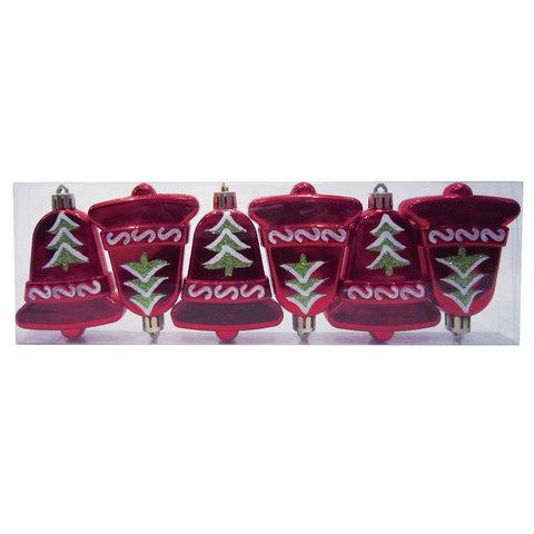 """Украшения елочные подвесные """"Колокольчики"""", НАБОР 6 шт., 8 см, пластик, с рисунком, красные, 59599"""