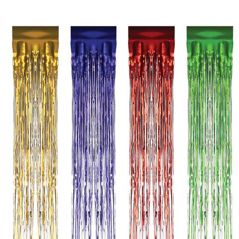 Дождик новогодний, ширина 75 мм, длина 1,5 м, ассорти 4 цвета, Д-304
