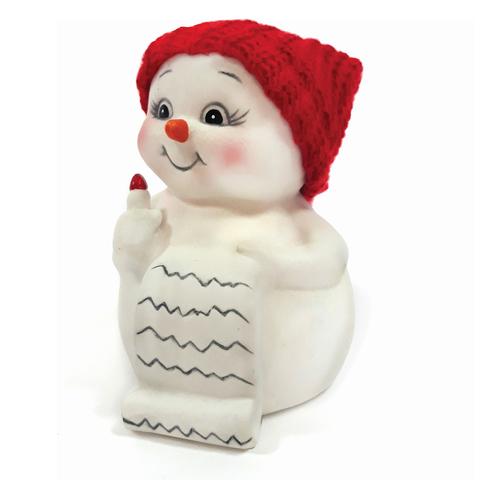 """Фигурка новогодняя """"Снеговик и список подарков"""", 8 см, керамика, 41746"""