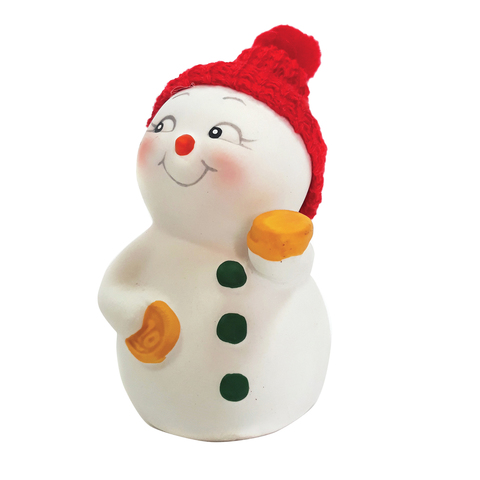 "Фигурка новогодняя ""Снеговик с монетами"", 8 см, керамика, 41745"