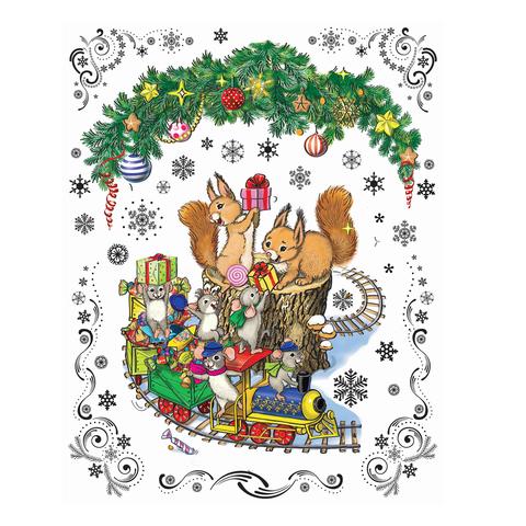 """Украшение для окон и стекла декоративное """"Новогодний паровозик и мышата"""", 30х38 см, ПВХ, 41669"""