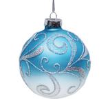 """Шар елочный стеклянный """"Снежные узоры"""", диаметр 8 см, с рисунком глиттером (матовый), 42346"""