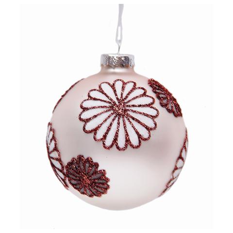 """Шар елочный стеклянный """"Снежные цветы"""", диаметр 8 см, с рисунком глиттером (матовый), 42333"""