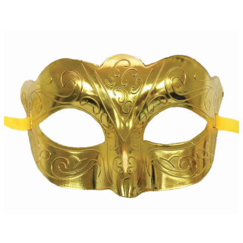 """Маска карнавальная """"Блестящая золотая"""", 15,5х9х7,5 см, ПВХ, с атласной лентой, 75236, 78198"""
