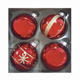 Шары елочные, набор 4 шт., стекло, диаметр 6 см, цвет красный, с рисунком глиттером (глянец), ассорти, 76697