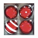 Шары елочные, набор 4 шт., стекло, диаметр 6 см, цвет красный, с рисунком глиттером (глянец), ассорти, 76698
