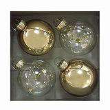 Шары елочные, набор 4 шт., стекло, диаметр 6 см, с рисунком, ассорти 2 цвета (глянец), 76700