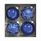 Шары елочные, набор 4 шт., стекло, диаметр 6 см, цвет темно-синий, с рисунком глиттером, ассорти, 76701