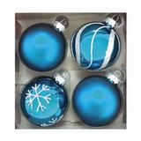 Шары елочные, набор 4 шт., стекло, диаметр 6 см, цвет голубой, с рисунком глиттером, ассорти, 76702