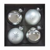 Шары елочные, набор 4 шт., стекло, диаметр 6 см, цвет серебро, с рисунком глиттером, ассорти, 76703