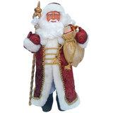 Дед Мороз декоративный, пластик/ткань, высота 41 см, в бордовой шубе, 75901