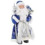 Дед Мороз декоративный, пластик/ткань, высота 41 см, в синей шубе, 75902