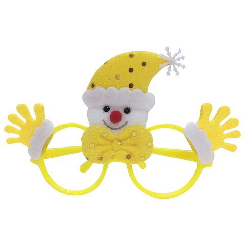 "Очки карнавальные ""Желтый Снеговик"", 19х12х3,5 см, полипропилен/нетканый материал, 78592"