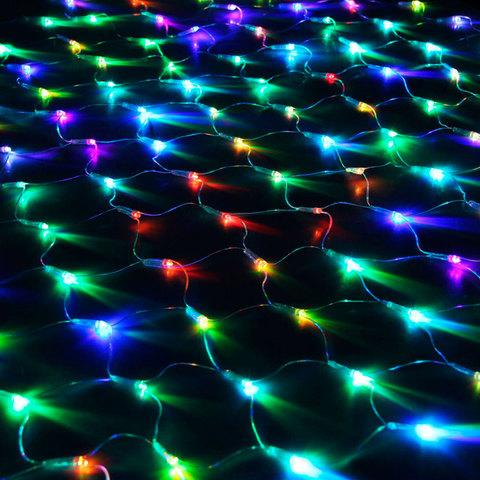 Электрогирлянда светодиод. УЛЬТРА ЯРКАЯ типа сеть, 160 ламп, 1,5*1,5 м, многоцв., контроллер, 21362