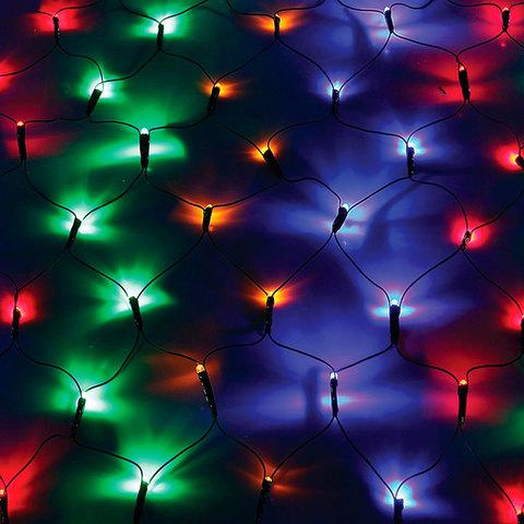 Электрогирлянда светодиод. УЛЬТРА ЯРКАЯ тип сеть, 120 ламп, 1,5*1,5 м, многоцв., контроллер, 21363