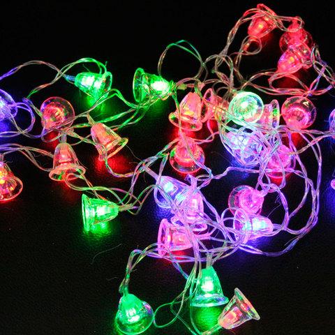 Электрогирлянда светодиодная КОЛОКОЛЬЧИКИ, 30 ламп, 5 м, многоцветная, 56804