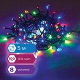 """Электрогирлянда светодиодная ЗОЛОТАЯ СКАЗКА """"Стандарт"""", 100 ламп, 5 м, многоцветная, контроллер, 591099"""