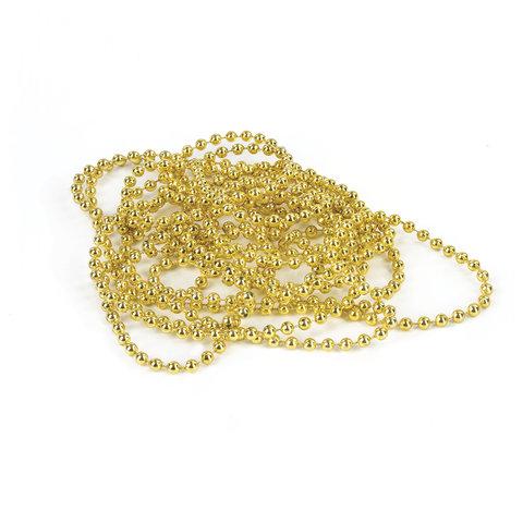 Бусы елочные ЗОЛОТАЯ СКАЗКА, диаметр 4 мм, длина 2,7 м, золотистые, 591139