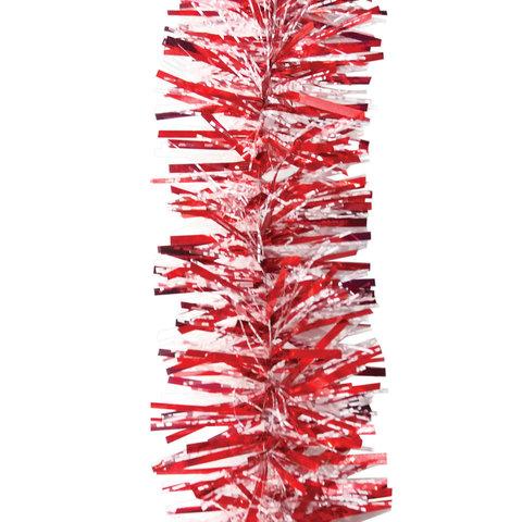 Мишура 1 штука, диаметр 70 мм, длина 2 м, красный с прозрачным в белую точку, 5-180-7