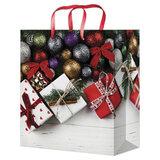"""Пакет подарочный 26,4x32,7x13,6 см, """"Подарки и елочные шарики"""", ламинированный, ПКП-8870"""