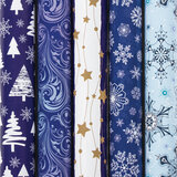 """Бумага упаковочная новогодняя 70х100 см ЗОЛОТАЯ СКАЗКА """"Blue Collection"""", 5 дизайнов, 70 г/м<sup>2</sup>, 591583"""