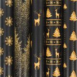 """Бумага упаковочная новогодняя 70х100 см ЗОЛОТАЯ СКАЗКА """"Black&Gold"""", 5 дизайнов, 70 г/м<sup>2</sup>, 591584"""