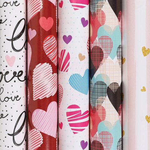 "Бумага упаковочная мелованная 70х100 см ЗОЛОТАЯ СКАЗКА ""Love"", 5 дизайнов, 70 г/м<sup>2</sup>, 591595"