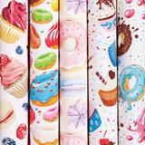 "Бумага упаковочная мелованная 70х100 см ЗОЛОТАЯ СКАЗКА ""Sweets"", 5 дизайнов, 70 г/м<sup>2</sup>, 591596"