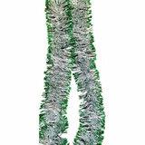 Мишура 1 штука, диаметр 70 мм, длина 2 м, серебро с зелеными кончиками, 5-180-7