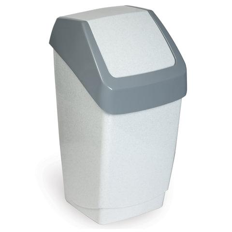 """Ведро-контейнер 15 л, с крышкой (качающейся), для мусора, """"Хапс"""", 46х26х25 см, серое, IDEA, М 2471"""