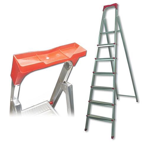 """Лестница-стремянка """"UFUK"""", 155 см, 7 ступеней, стальная, облегченная, вес 10 кг, ТУ 21/KRM507"""