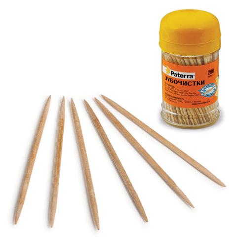 Зубочистки деревянные PATERRA, комплект 200 шт., в баночке, 401-623