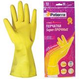 Перчатки хозяйственные резиновые, текстурированные, SUPER ПРОЧНЫЕ, размер M, желтые, PATERRA, 402394, 402-394