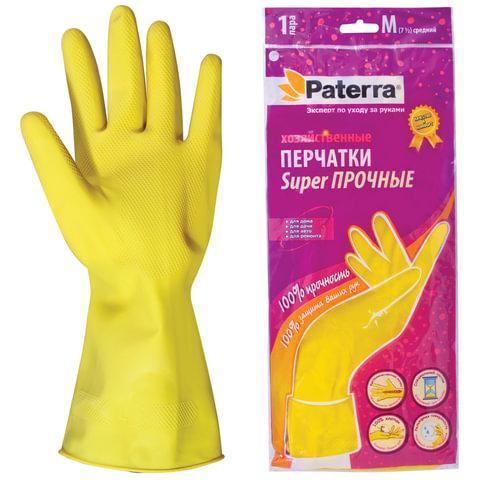 Перчатки хозяйственные резиновые PATERRA с х/б напылением, размер М (средний), 402-394