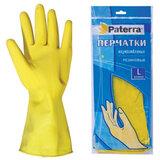 Перчатки хозяйственные резиновые, текстурированные, SUPER ПРОЧНЫЕ, размер L, желтые, PATERRA, 402395, 402-395