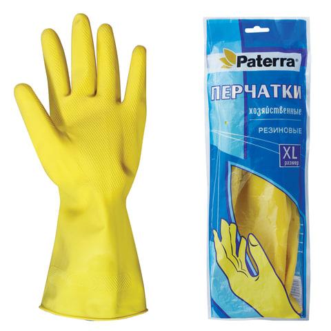 Перчатки хоз.резиновые PATERRA с х/б напылением, размер XL (оч.большой), 402-396