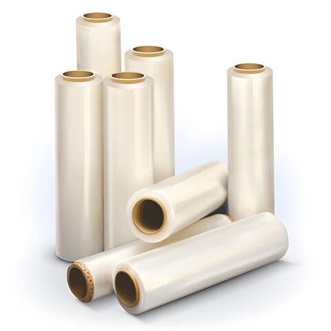 Стрейч-пленка для ручной упаковки 50 см х 128 м, 17 мкм, 1 кг - нетто, ПЕРВИЧНОЕ СЫРЬЕ, растяжение 300%