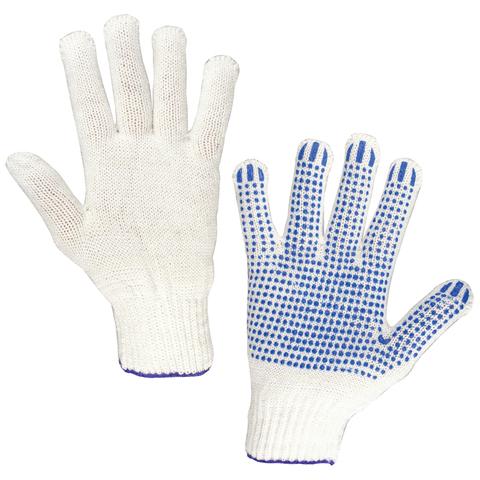 Перчатки хлопчатобумажные, КОМПЛЕКТ 5 ПАР, 7,5 класс, 46-48 г, 166 текс, ПВХ-точка, LAIMA
