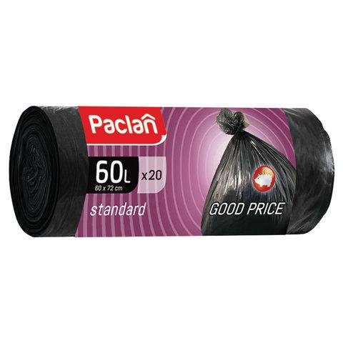 Мешки для мусора 60 л, черные, в рулоне 20 шт., ПНД, 7,4 мкм, 60х72 см, PACLAN