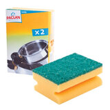 Губки бытовые PACLAN, комплект 2 шт., с чистящим слоем и выемкой для пальцев, 40х70х90 мм