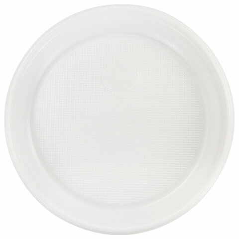 Одноразовые тарелки десертные, КОМПЛЕКТ 100 шт., пластик, d=170 мм, БЮДЖЕТ, белые, ПС, холодное/горячее, LAIMA, 600942